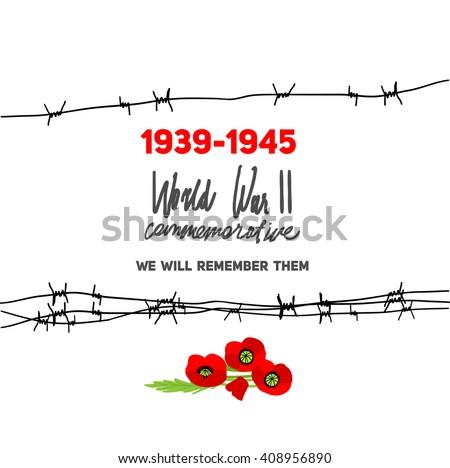 Memorable World War II Card Barbed Stock Vector (2018) 408956890 ...