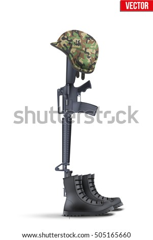 Memorial Battlefield Cross. The symbol of a fallen US soldier. Modern war. Rifle M16 with boots and helmet. Vector Illustration Isolated on white background.