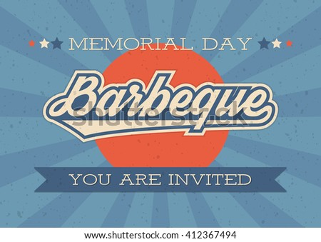 Memorial Day background. Vector illustration with text and ribbon for retro posters,  decoration. White text with long shadows. B-B-Q invitation. Retro style barbecue invitation card for Memorial Day