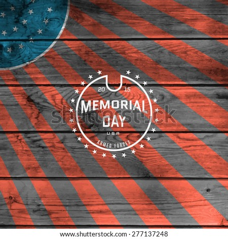 Memorial day, badges logos and labels for any use, against the backdrop the American flag - stock vector