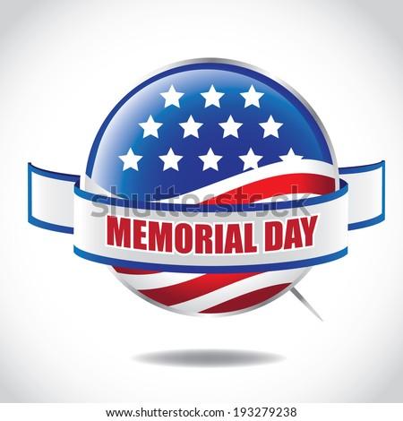 Memorial Day button. EPS 10 vector. - stock vector