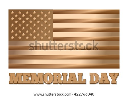 Memorial Day design. Gold United States of America flag. Golden United States (USA) flag and greeting inscription isolated on white background. Gold label - Memorial Day. Vector illustration - stock vector