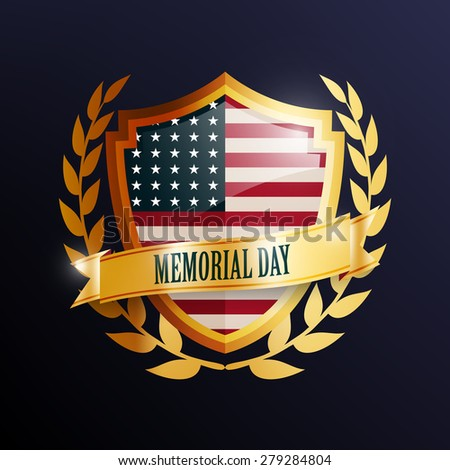 Memorial Day greeting card ,badge and labels,Vector EPS10. - stock vector