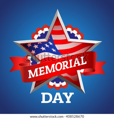 Memorial Day greeting card. Vector illustration with american flag. - stock vector