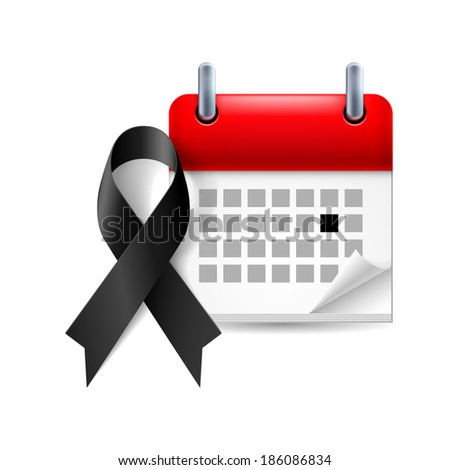 Memorial Day icon: black ribbon and calendar with marked day - stock vector