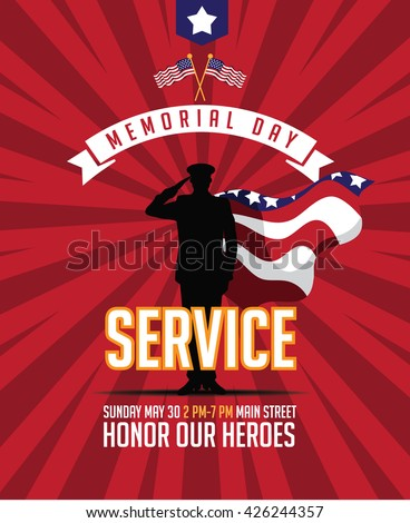 Memorial Day military super heroes service marketing poster background design. EPS 10 vector.