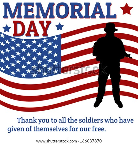 Memorial day poster with soldier over flag background, vector illustration - stock vector