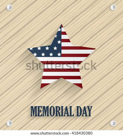 Memorial day poster with striped star. Wooden background. Vector illustration.