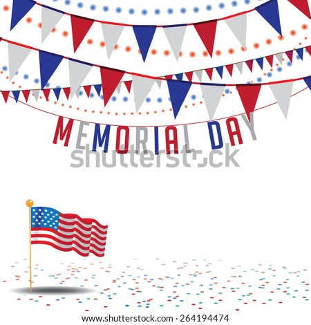 Memorial Day Sale bunting background EPS 10 vector royalty free stock illustration for greeting card, ad, promotion, poster, flier, blog, article, ad, marketing, retail shop, brochure, signage - stock vector