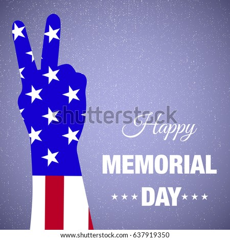 Memorial Day typography vector background design with usa flag and victory hand silhouette on blue background.