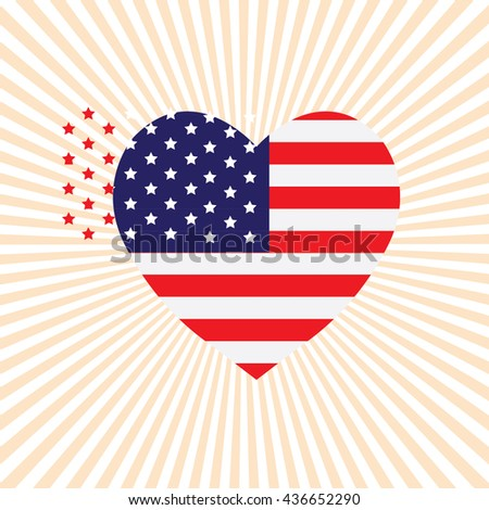 Memorial Day Vector Illustration. Star with American Flag