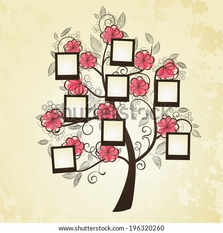 Memories tree with photo frames.  Insert your photos into frames  - stock vector