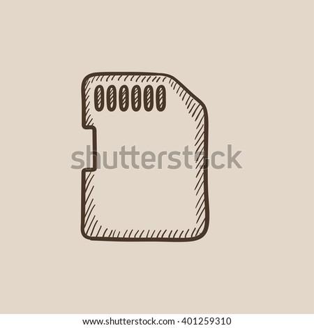 Memory card sketch icon. - stock vector