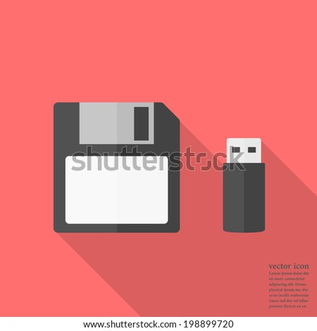 Memory icon ,  Flash drive and floppy disk ,Vector illustration flat design with long shadow - stock vector