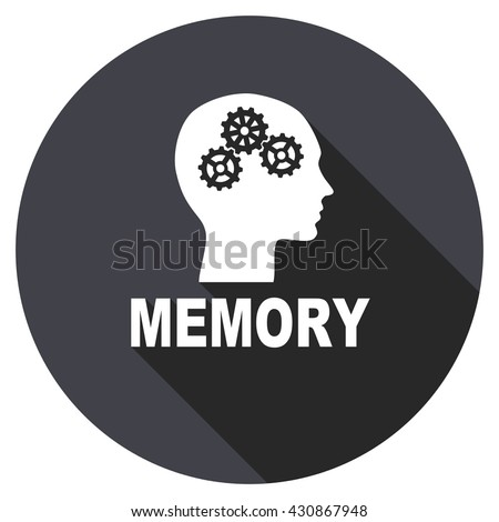 memory vector icon, circle flat design internet button, web and mobile app illustration - stock vector