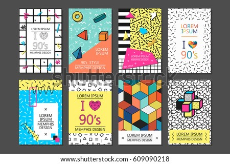 Memphis cards and posters with geometric elements. Collection 80 - 90s fashion.