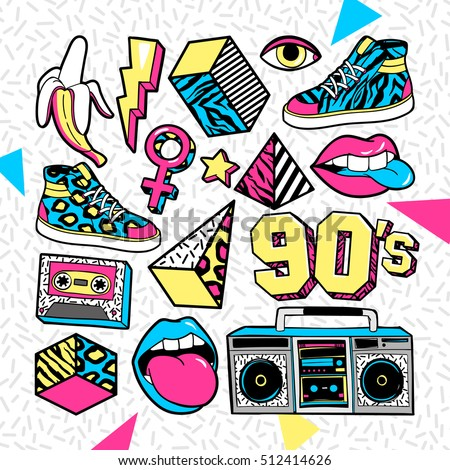 memphis fashion patch badges lips sneakers stock vector royalty rh shutterstock com 1990s Theme Clip Art Evolution Clip Art of Fashion