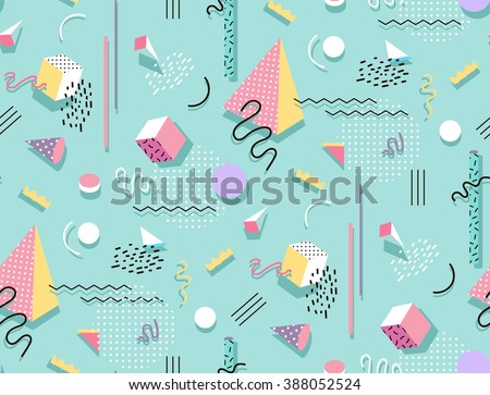 Memphis pattern of geometric shapes for tissue and postcards. Hipster poster, juicy, bright color background. - stock vector