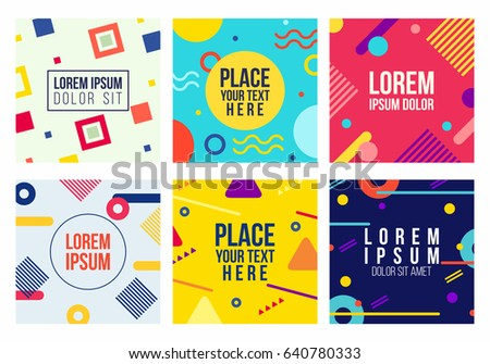 Memphis style 6 cards collection templates stock vector 640780333 collection of templates with geometric shapes patterns in trendy memphis stopboris Choice Image