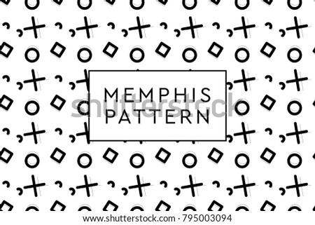Memphis vector objects pattern. Various forms and dispositions.