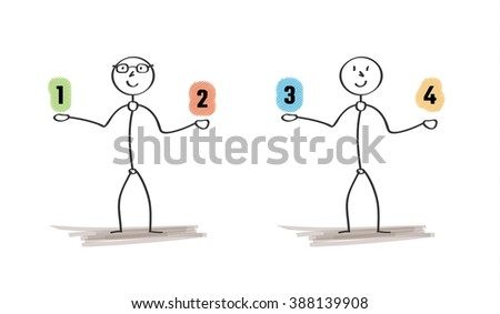 men and choices with numbers on white background