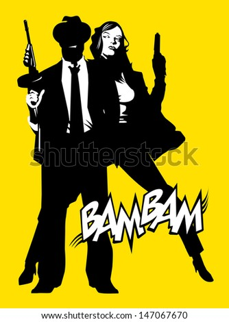 men and woman in black suits with a weapon, vector, illustration - stock vector