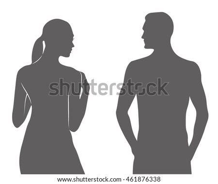 Men and woman silhouette grey vector illustration