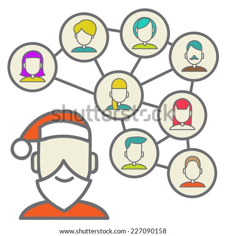 men and women connecting together via social media or social networking.  Vector illustration of the good boys and girls - stock vector