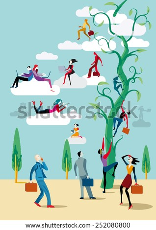 Men and women go up heaven with him wireless devices by a large plant similar to the story of the Magic Beans, to access the clouds from which they work on line and share information and knowledge. - stock vector