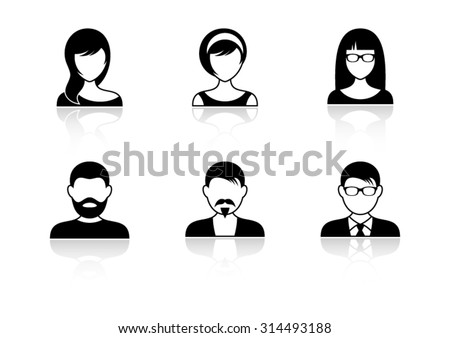 Men and women icons with shadows - stock vector