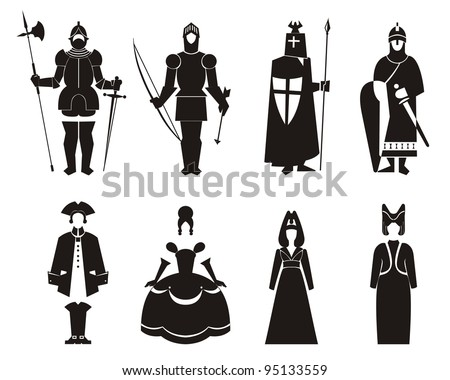 men and women in period costume - stock vector