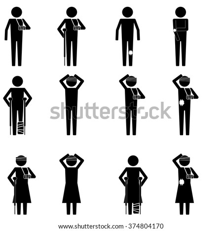 Men and women injury type with leg, arm, & head sign symbol vector pictogram info graphic