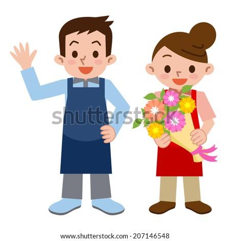 Men and women of florist - stock vector