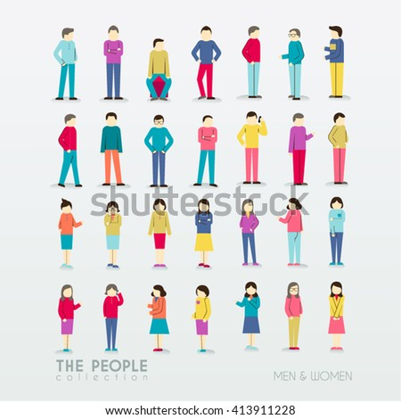 Men and Women People Icon with Different Poses Collection Vector Design - stock vector
