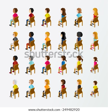 Men and Women People In Side Sitting View Vector Illustration - stock vector