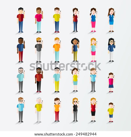 Men and Women People Using Mobile Phone Vector Illustration - stock vector