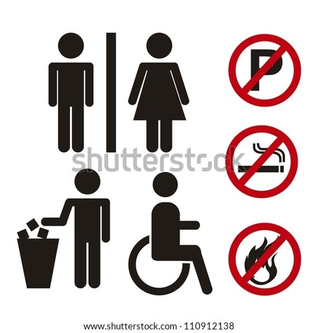 men and women signs with prohibited signs. vector illustration - stock vector