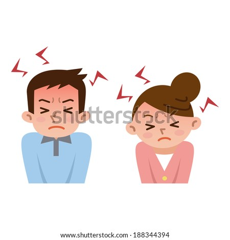 Men and women to be frustrated by stress - stock vector