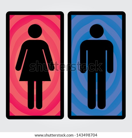 Men and Women Toilet Sign  - isolated on White Background - Vector - stock vector