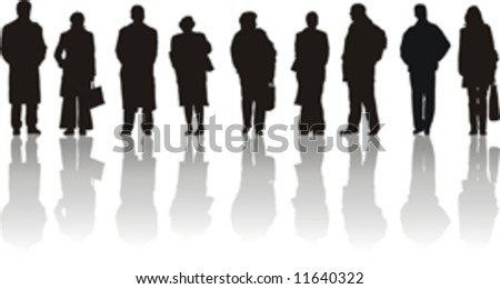 Men and women waiting on station - stock vector