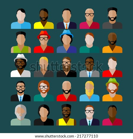 men appearance icons. people flat icons collection  - stock vector