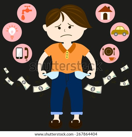 Men are feeling sad and worry about the money in his pocket that out quickly with utilities such as water, electricity, gas, telephone, home and food. - stock vector