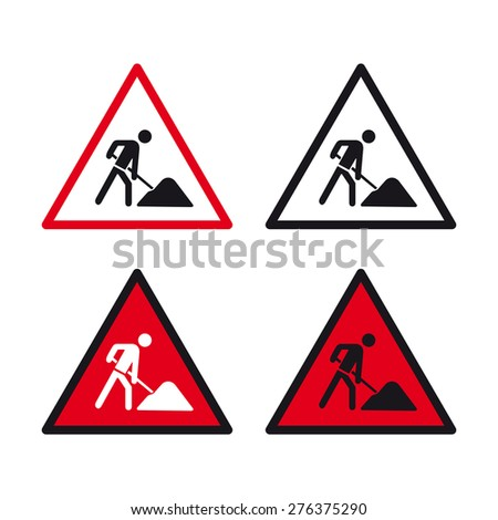 Men at work traffic sign vector set