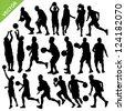 Men basketball silhouettes vector - stock vector