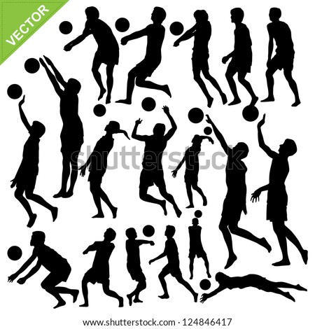 Men beach volleyball silhouettes vector