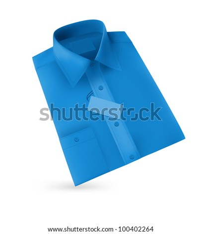 Men blank blue folded shirt with a label.