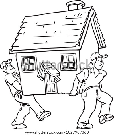 men carry house