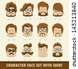 Men character icon set with shirt. Vector illustration - stock vector