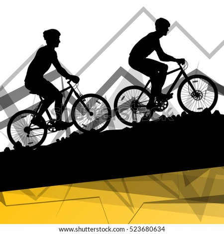Men cyclist bicycle rider sport silhouettes in mountain wild nature landscape background illustration vector