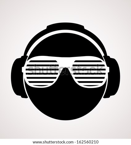 men dj in headphone. vector print illustration  - stock vector
